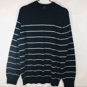Theory Navy Stripe Osman S Cotton/Cashmere Sweater